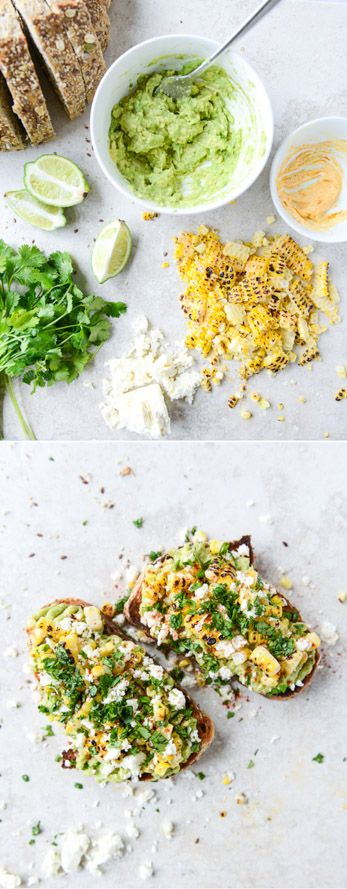 Mexican Grilled Corn Avocado Toast - the perfect weekend lunch! I howsweeteats.com