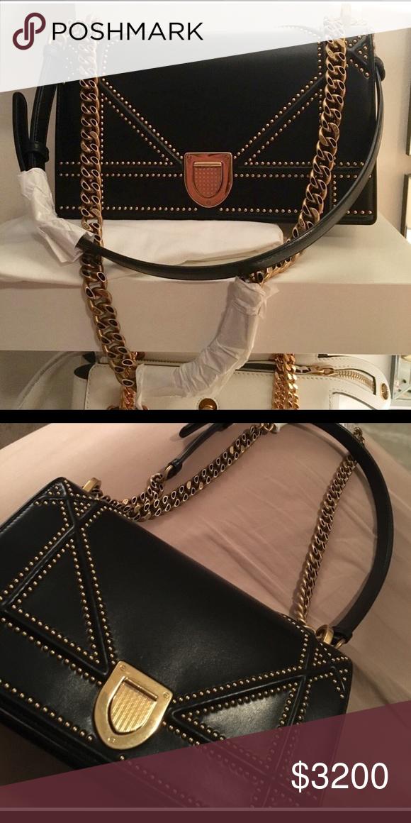 d9e245a874 Studded Calfskin Diorama Flap Bag Black Medium Good condition worn a  handful of times had minor