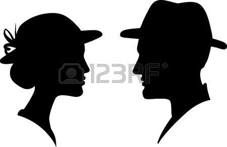 La cara del hombre y la mujer el perfil de la silueta, mujer hombre ...