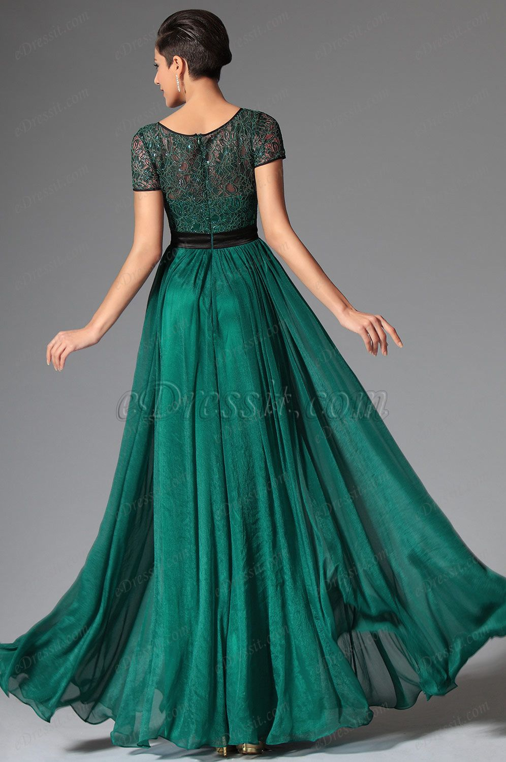 Dark green short sleeves evening dress prom dress