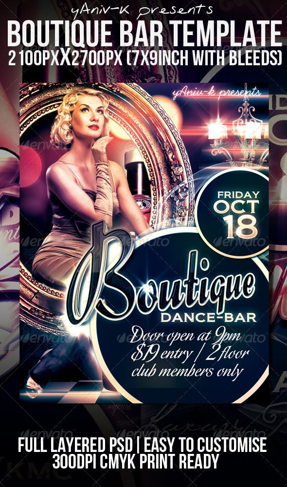 Boutique Bar Flyer Template Flyer template, Template and Boutique - talent show flyer