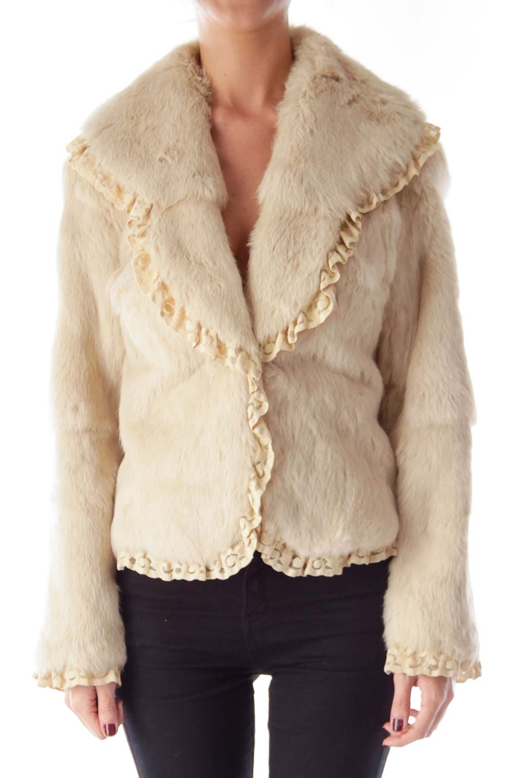 Cozy up in fur Cream Fur and Lace Jacket by Sheri Bodell