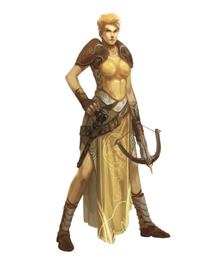 Female Abadar worshiper with crossbow.