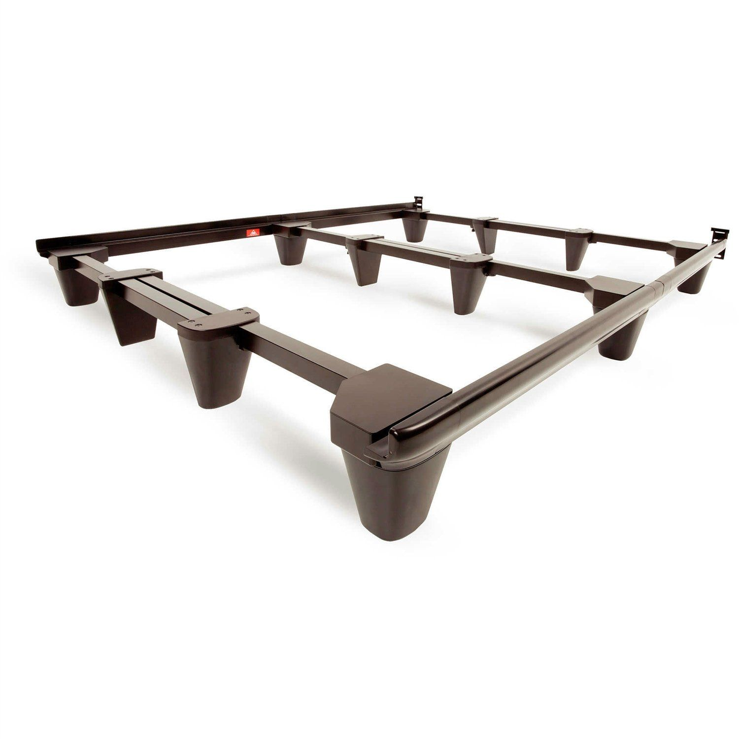 Heavy Duty Metal Bed Frame In Mahogany Finish Adjusts To Size Full