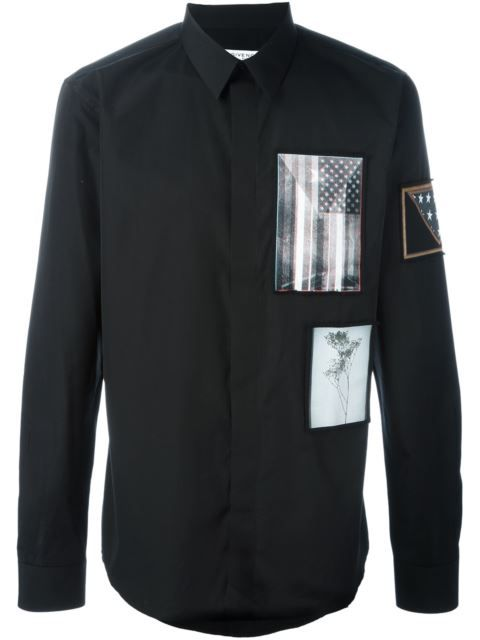 GIVENCHY Contrast Patch Shirt. #givenchy #cloth #shirt