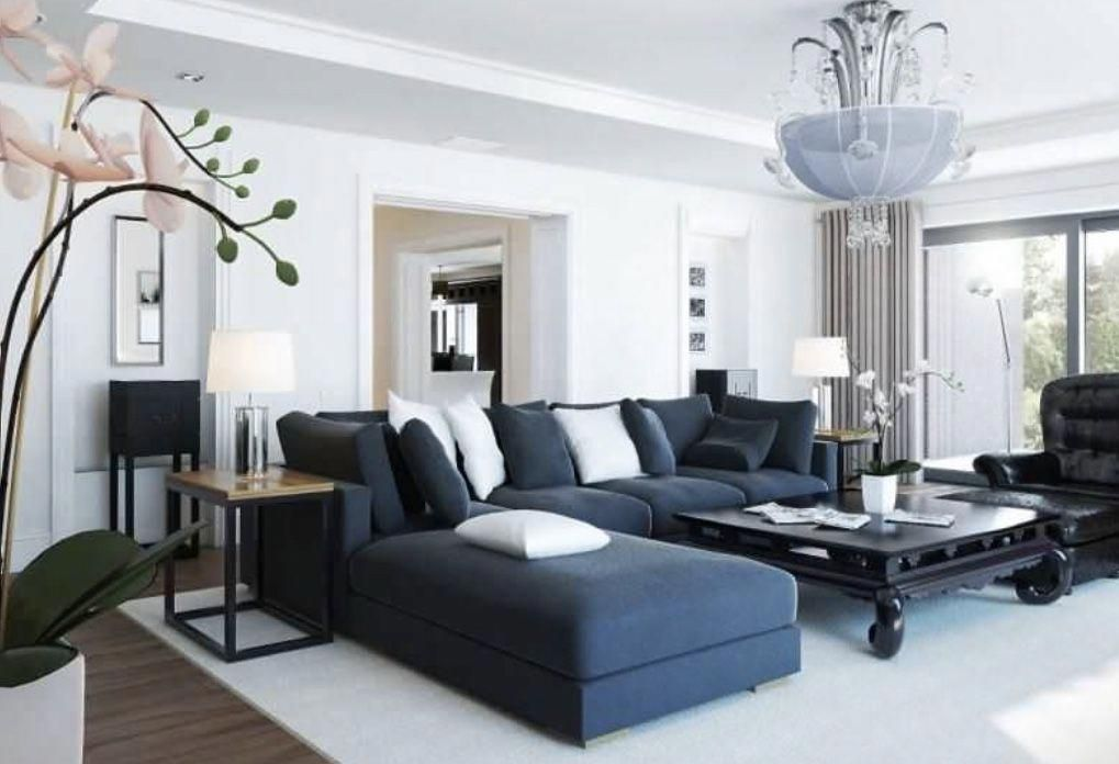 Black And White Living Room Decor With Black Sectional Sofa Whitelivingroom White Living Room Decor Black And White Living Room White Living Room Living room decor with sectional