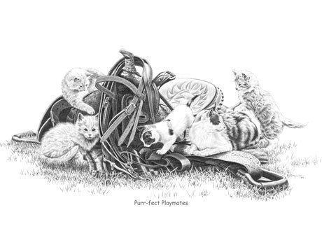 Purr-fect Playmates Black and White Art Print by Bernie Brown