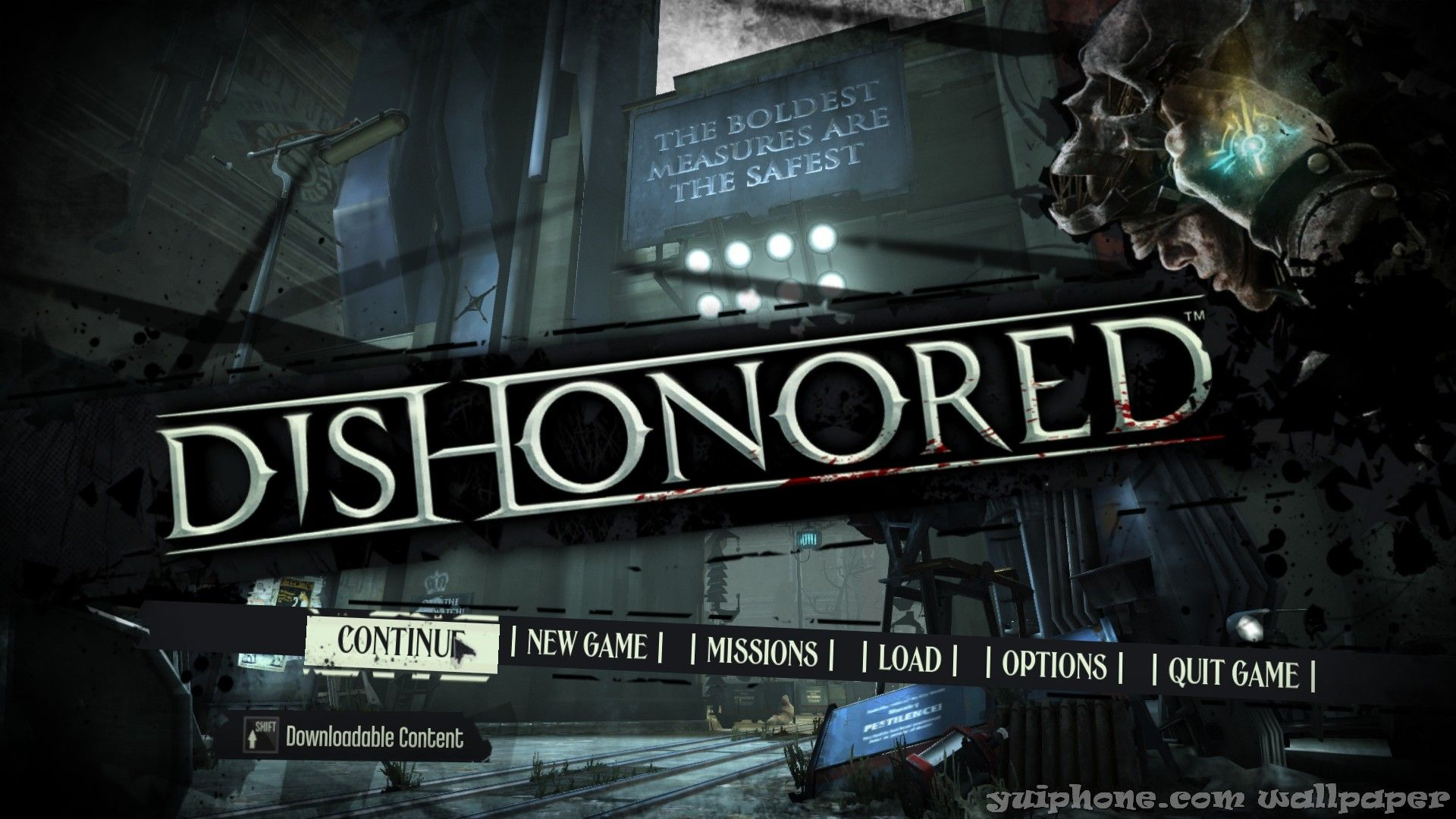 Dishonored - menu - Thesis - Game title, Game ui, Game logo