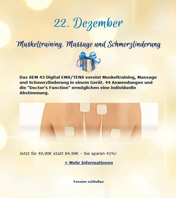 22. Dezember ~ Muskeltraining, Massage und Schmerzlinderung ~ http://ow.ly/fU3ez