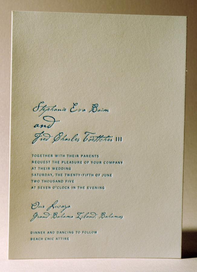 Letterpress wedding invitation. Single color, blue ink. Printed on ...