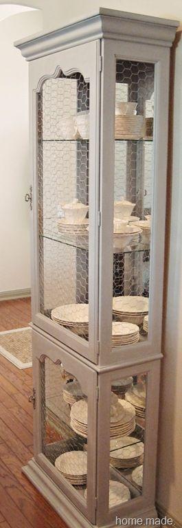 ... Curio Cabinet Transformation. Ok Loooooove The Chicken Wire~
