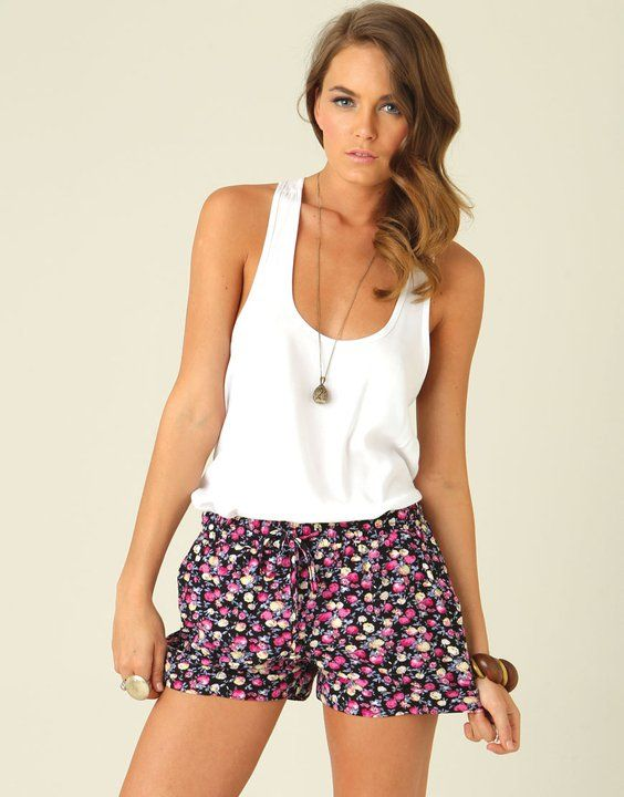 floral shorts and a loose tank