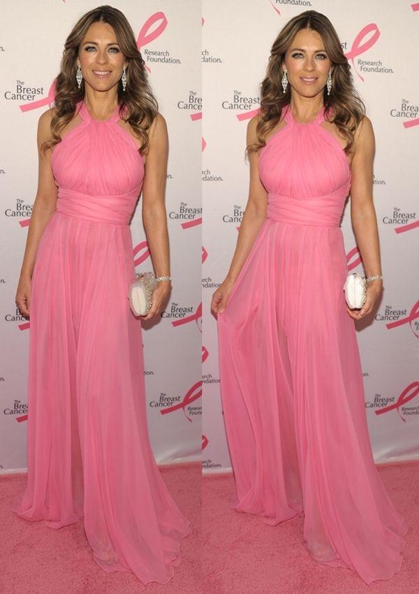 Hot Pink Party: Elizabeth Hurley Looks Radiant in Pink Halter ...