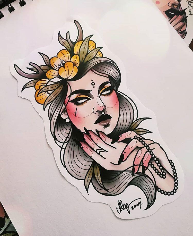 Rezerwacja Myartstyle Tattoos Tattoo Illustration Illustrator Neotraditiona Traditional Tattoo Illustration Tattoo Illustration Face Tattoos For Women