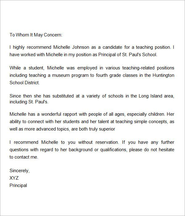 reference letter for teaching