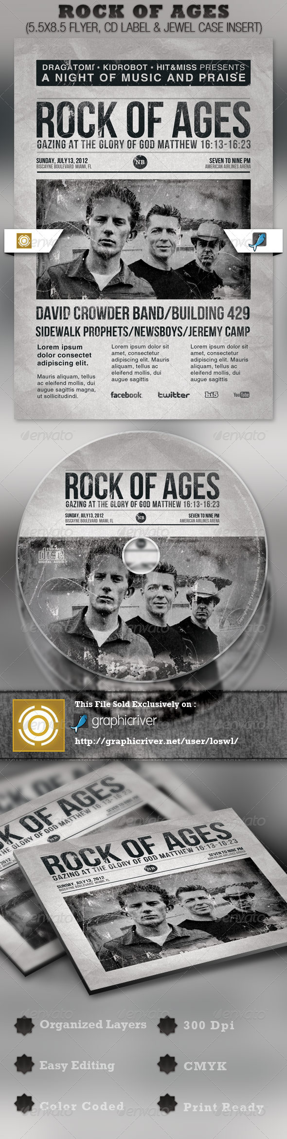 Rock of Ages Church Flyer and CD Template | Gospel concert, Cd ...