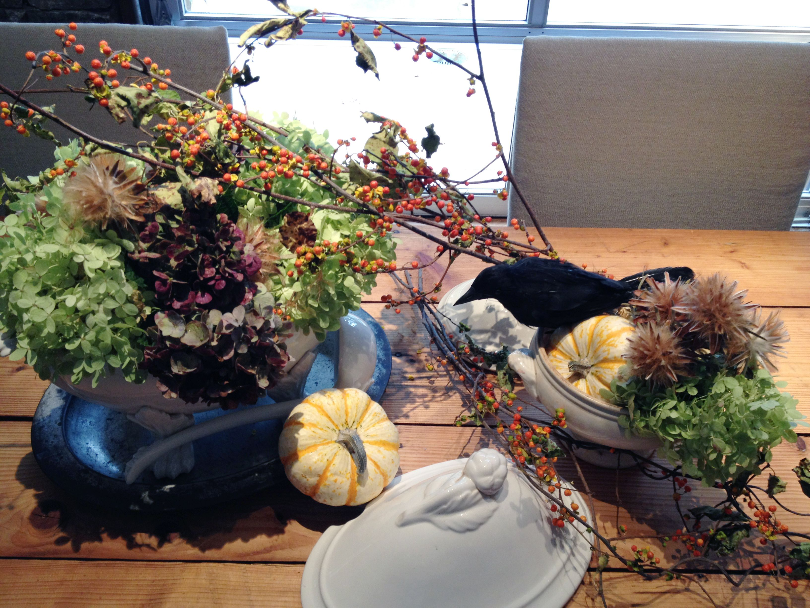 a collection of ceramic tureens or vessels, I like white or cream  - a selection of fall flowers, I used hydrangeas and they will dry nicely  - 3 small pumpkins about 4 inches in diameter  - 1 bunch of bittersweet branches  - dried thistle  - 1 black bird