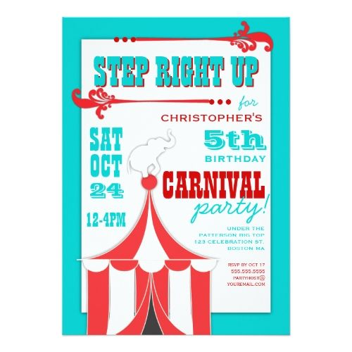 Circus Birthday Invitations Circus Carnival Birthday Party Big Top - best of invitation card birthday party
