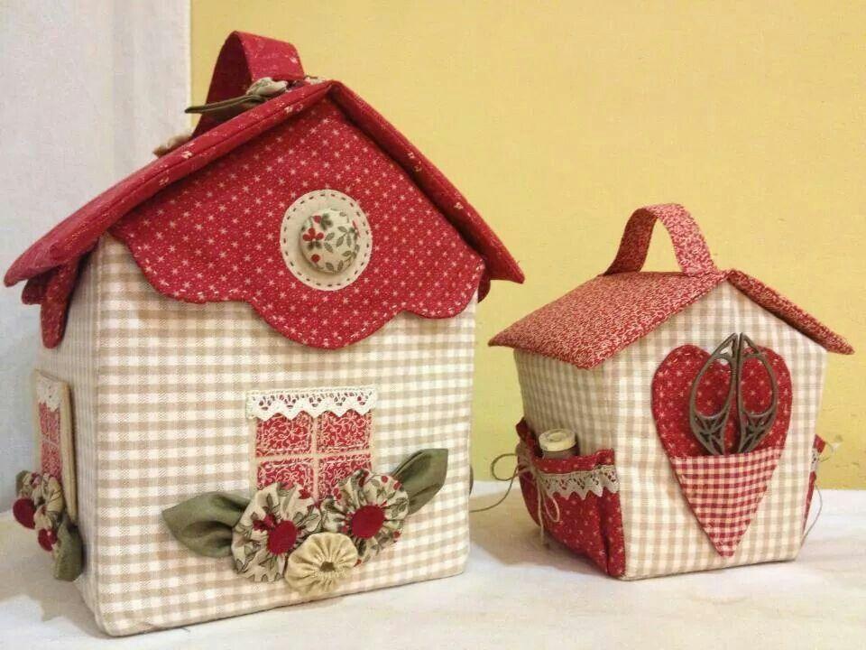 Casitas cajas decoradas pinterest caja de costura - Casas de patchwork ...
