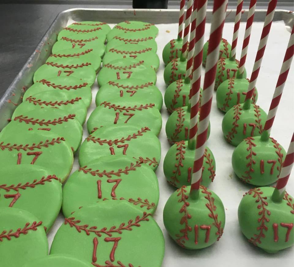 Softball Cookie and Cake Pop Favors Cake pop favors