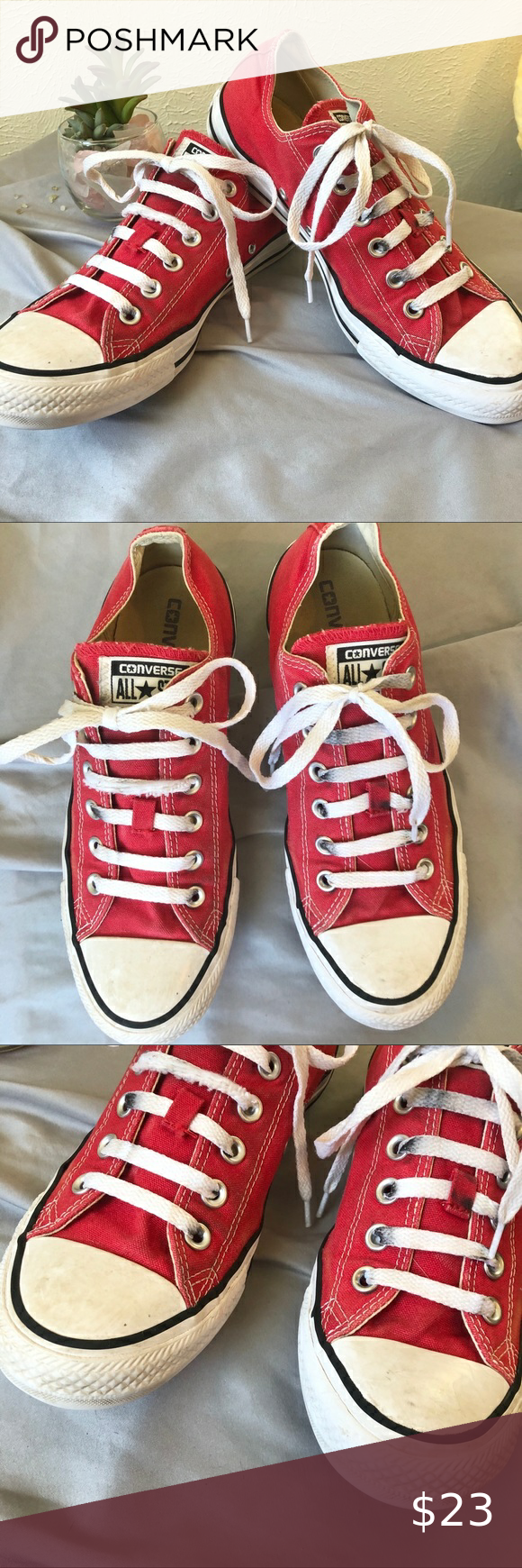 Converse Low Top Lace Up Sneakers 7M Red in 2020