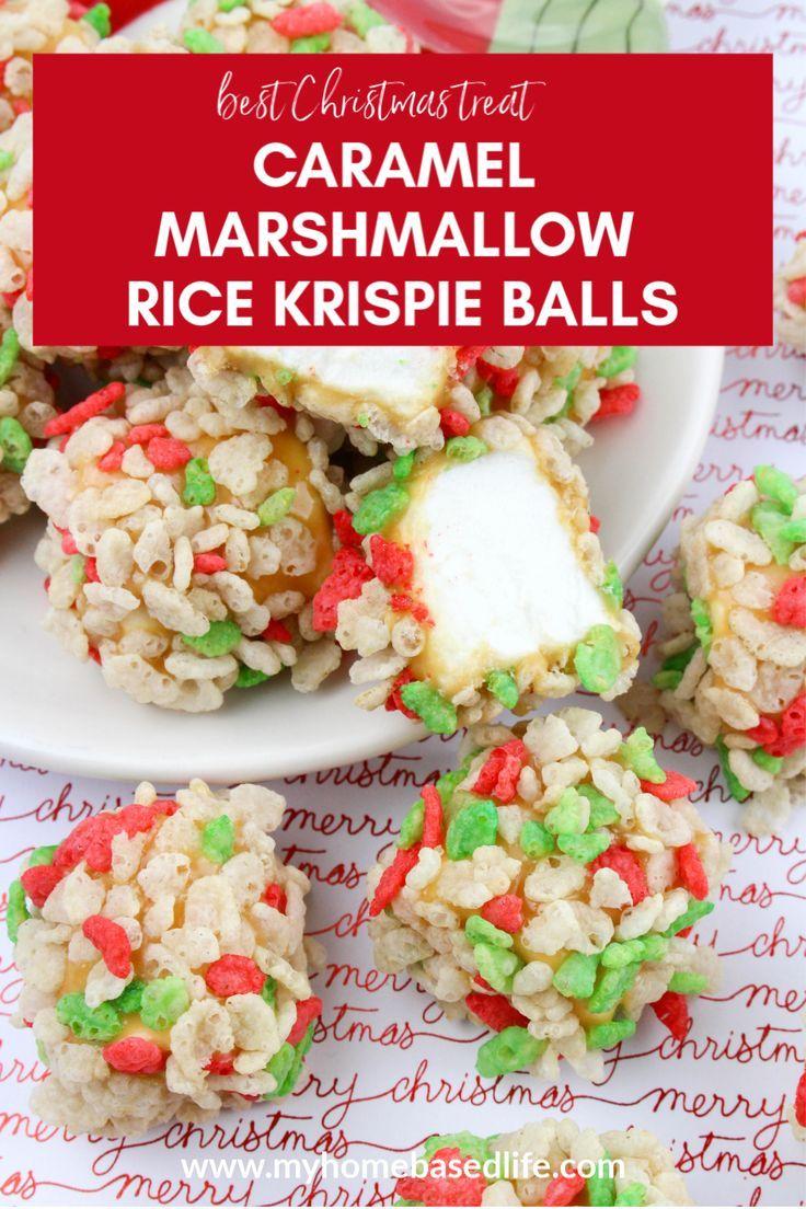 Easy last minute Christmas treat recipe. How to make caramel marshmallow Rice Krispie balls for the holidays. #dessertrecipe #christmastreats #christmasrecipes
