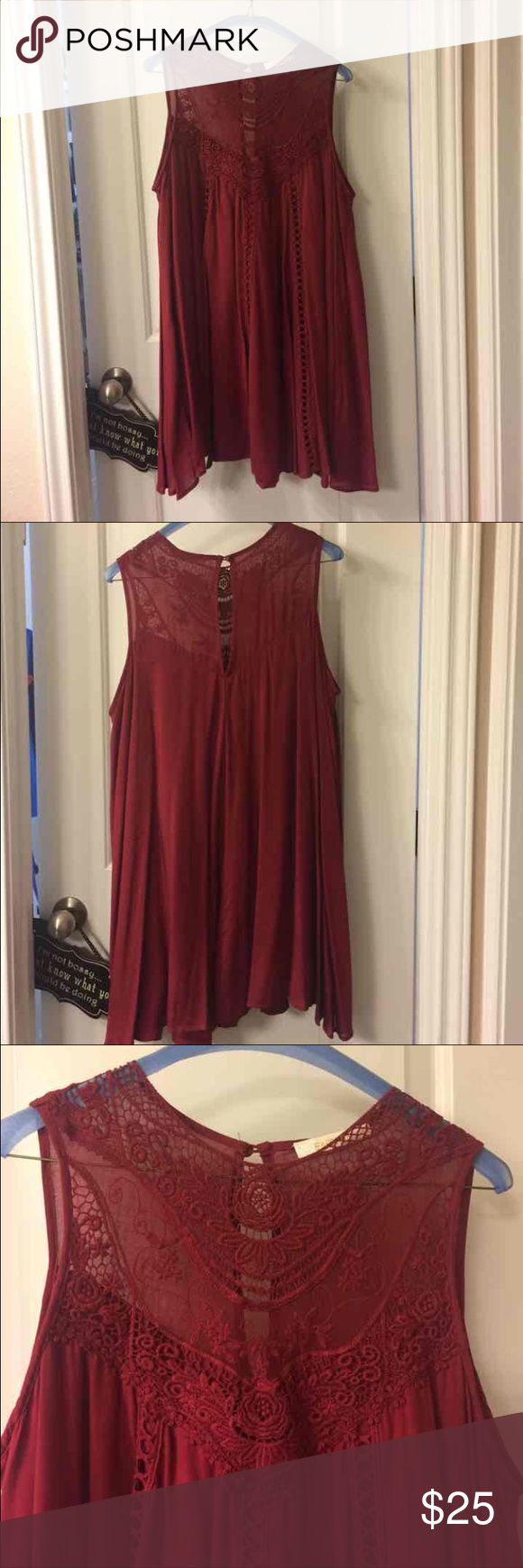 Gorgeous burgundy/wine baby doll dress Flirty and fun size small dress. SUPER comfy and can dress up with heels or throw on some boots. Worn once in excellent condition. Dresses Mini