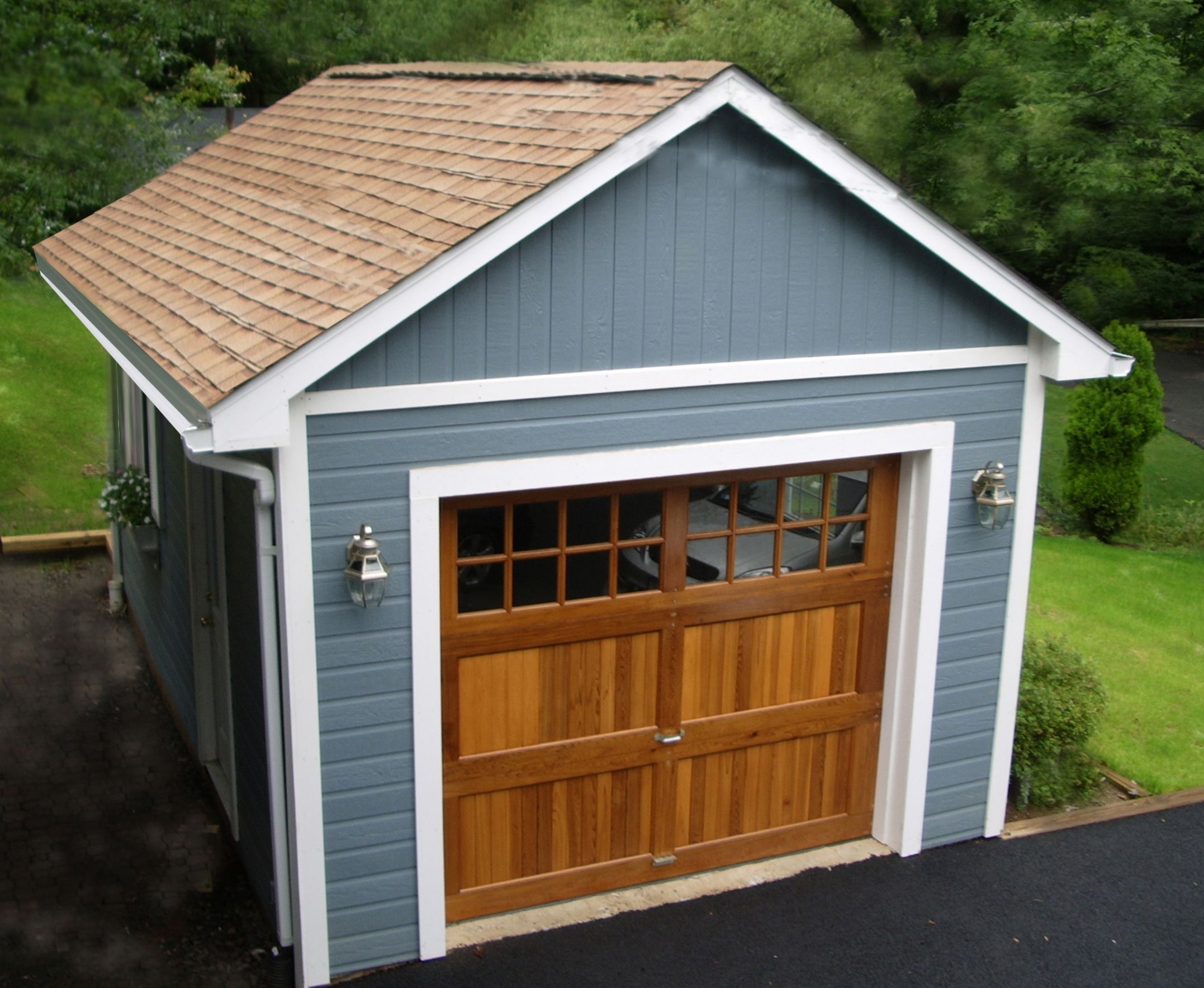 Mix and match a beautiful cedar garage door and some for Single garage with carport