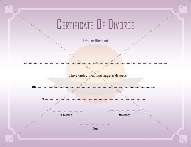 Divorce Decree Certificate Template Printable - Examples Of Divorce Papers