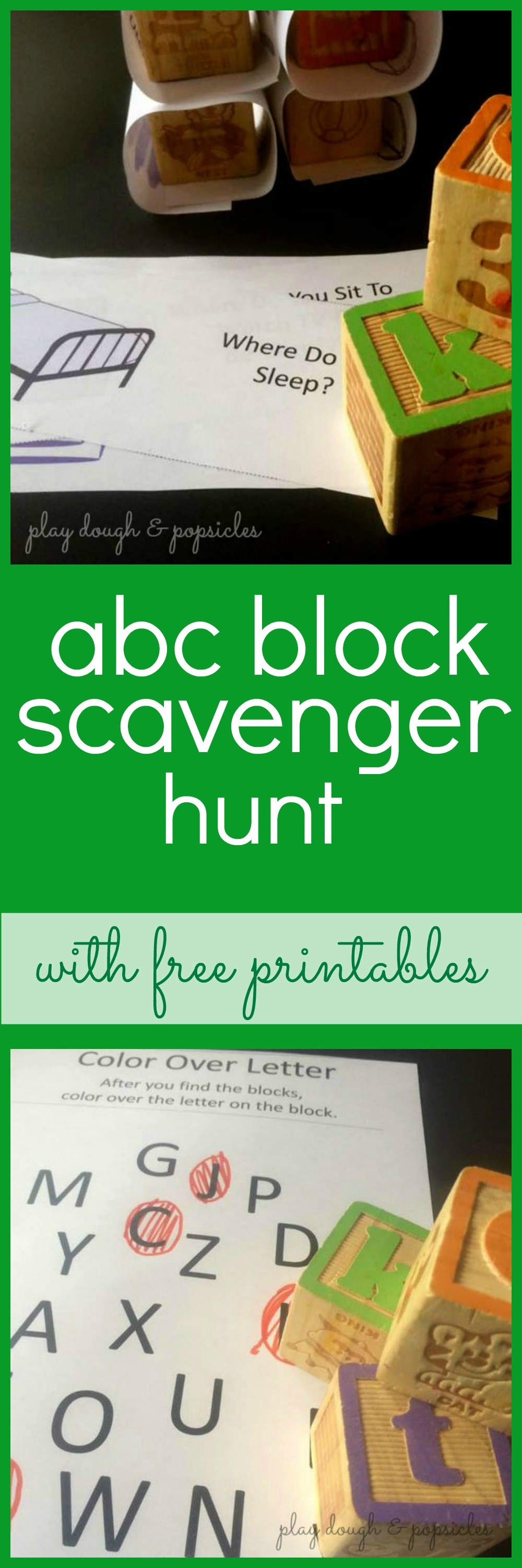 Block Scavenger Hunt for Letter Recognition with Free Printables ...