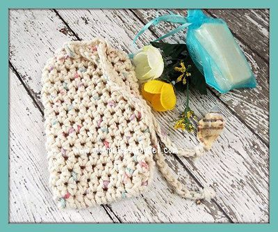Bath Set Soapsaver Bag Beige Crochet Wash Towel Handmade Lemongrass Soap