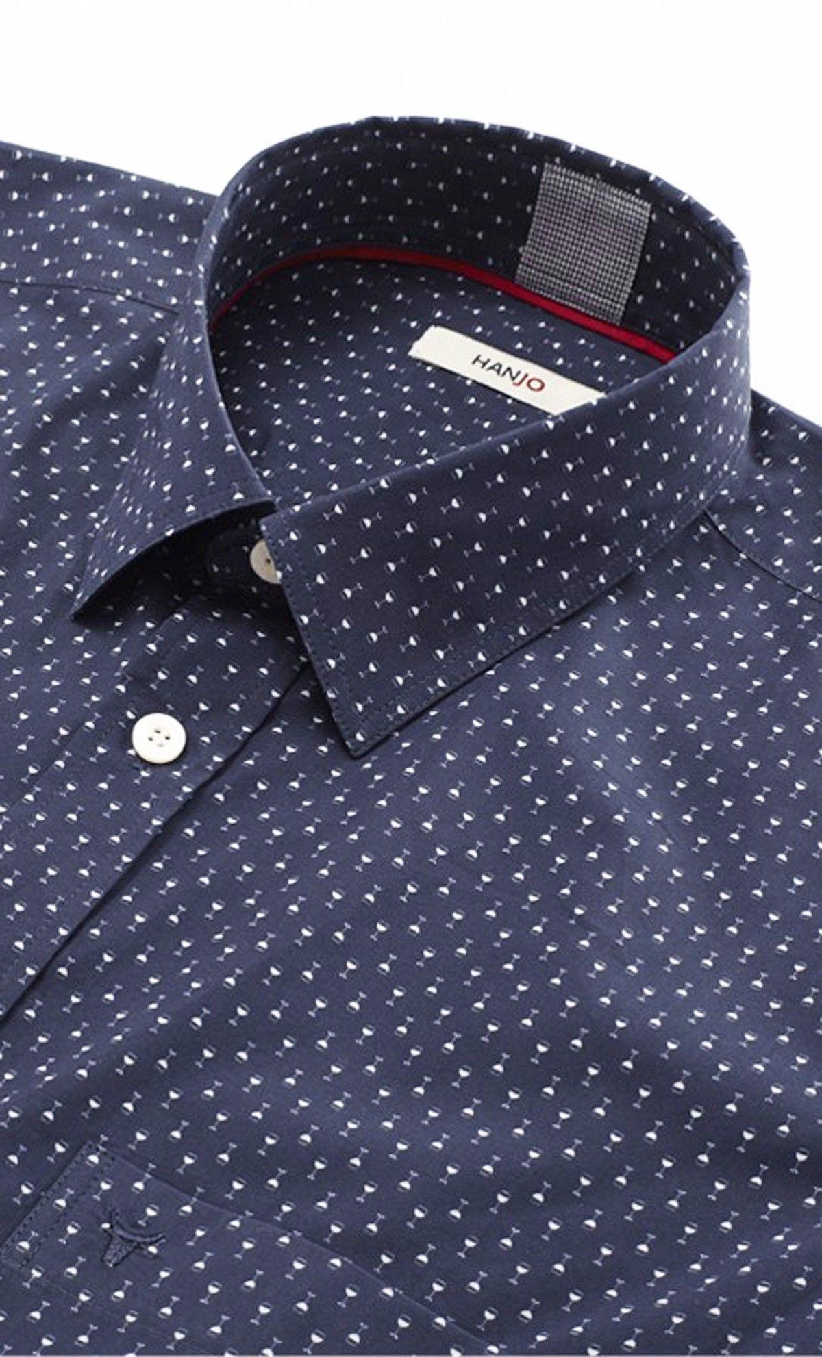 chemise mode homme bleue marine motif imprim pois. Black Bedroom Furniture Sets. Home Design Ideas