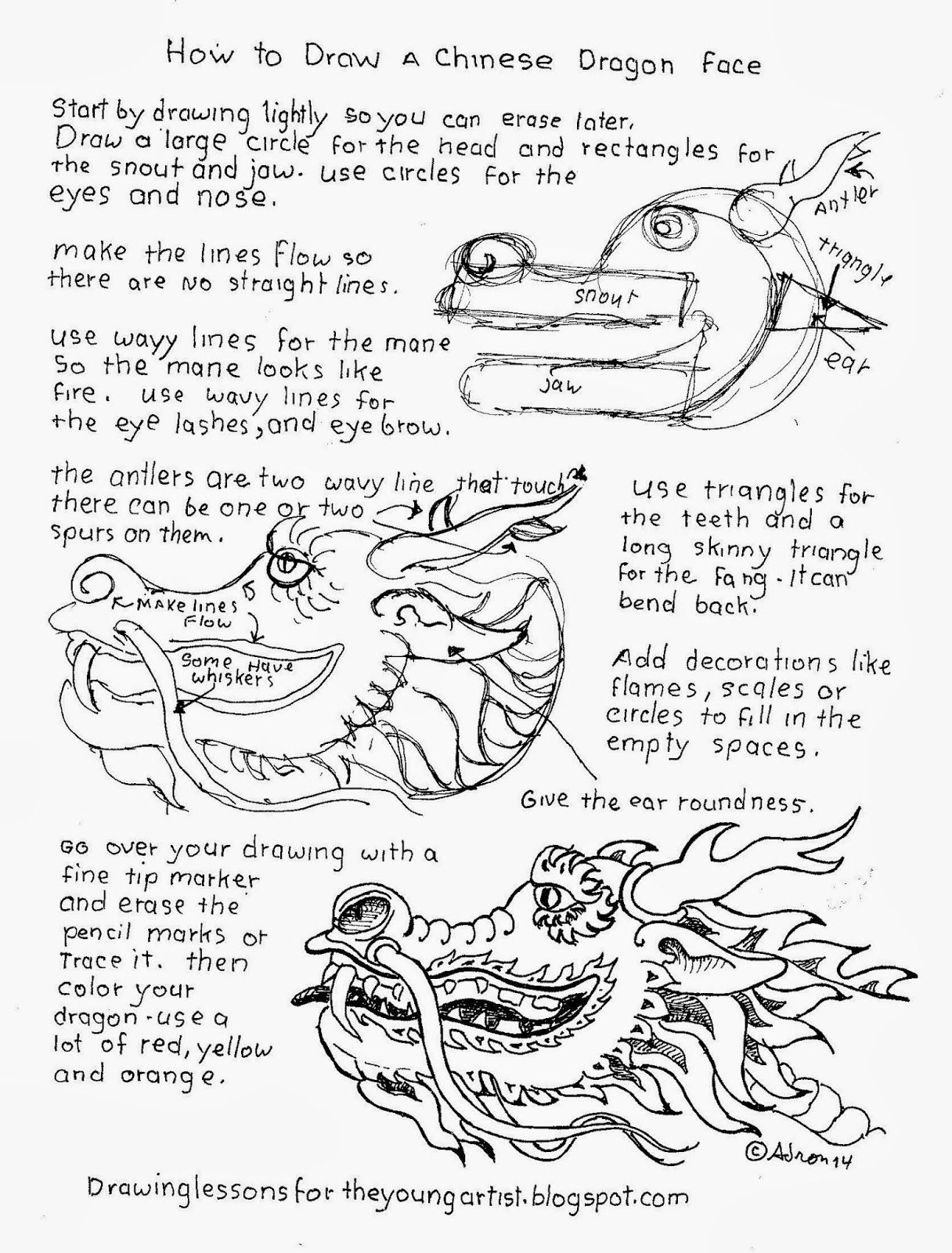 How To Draw A Chinese Dragon Head Worksheet See More At