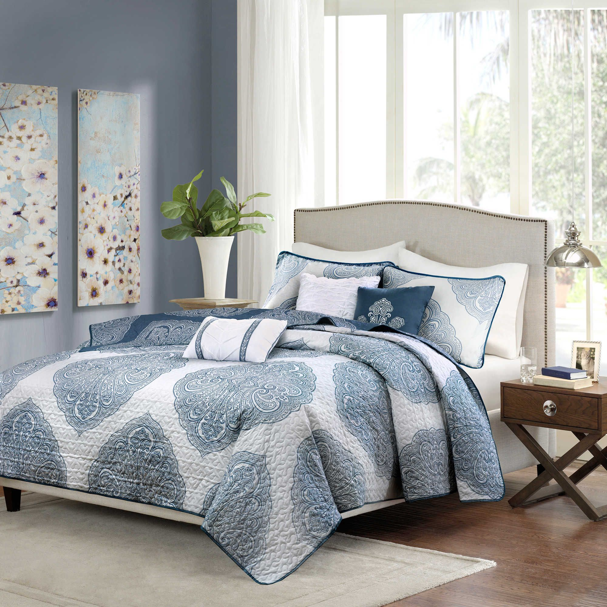 Madison Park Rachel 6 Piece Reversible Quilted Full Queen Coverlet Set In Navy With Images Quilted Coverlet Coverlet Set Quilt Sets Bedding