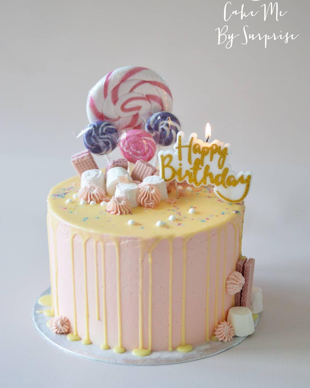 Drip Style Birthday Cake Happy Birthday Dripcake Birthdaycake Pinkcake Cool Birthday Cakes Birthday Cake Decorating Gluten Free Birthday Cake