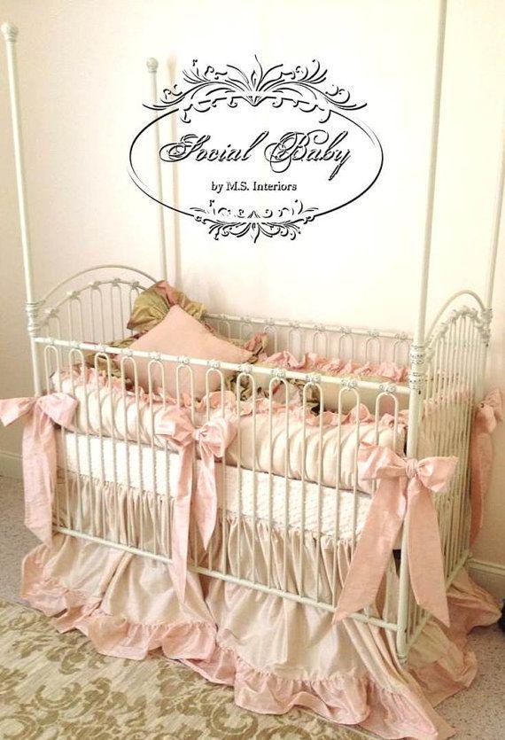Custom Baby Bedding Baby Girl Bedding in Silk by SocialBabyBedding