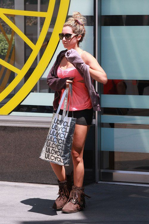http://anythingdiz.com - Ashley Tisdale leaving Soul Cycle in West Hollywood [candids]