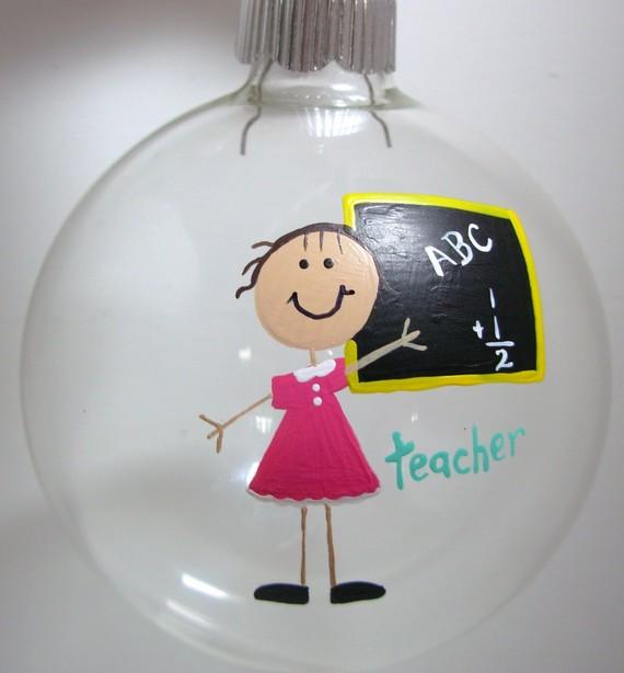 Teacher Christmas Ornament, Handpainted Personalized Glass Ball, Personalized Teacher Gift, Gift for Teacher, Handpainted Ornament,