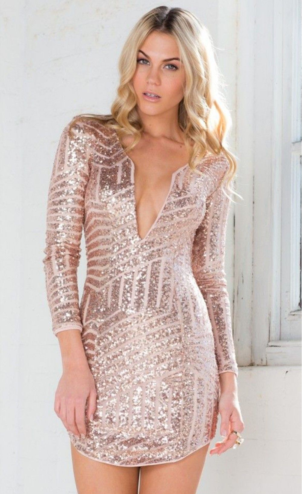 942ab67dedf6 Rose Gold Long Sleeve Sequin Mini Dress! Love the deep plunge ...