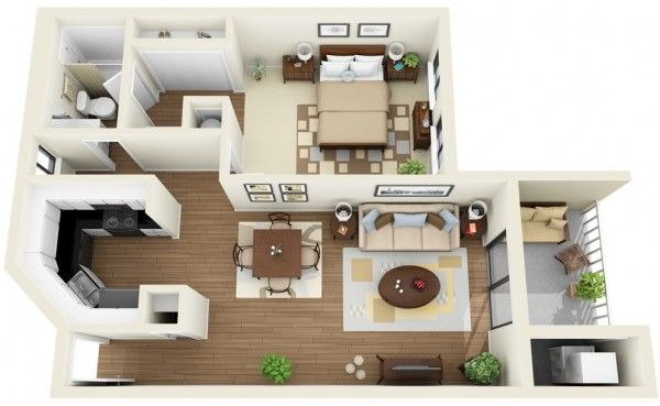 50 plans en 3d d appartement avec 1 chambres plus d for Appartement 3d gratuit
