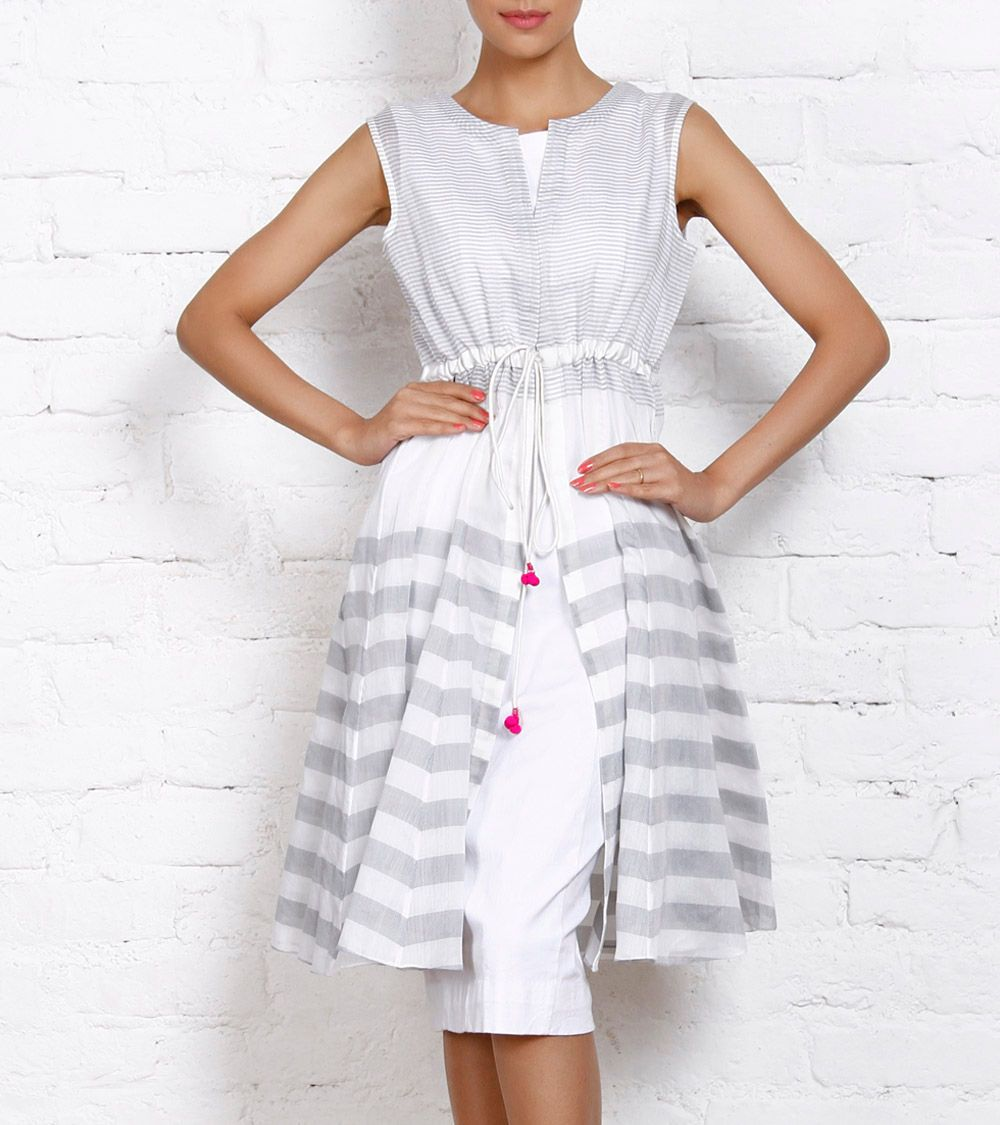 White Chanderi Tunic with Fitted Lycra Dress