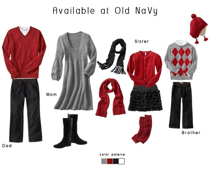 What to wear family session red grey black and white