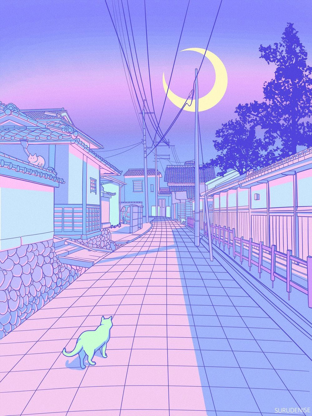 Pastel Japan, Cats and Alleyways Illustrations | Pastel ...