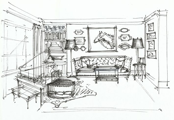 Living room interior sketch interior sketches floor - One point perspective living room sketch ...