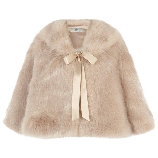 Coast Carrie Faux Fur Tie Cape, Blush (890 SEK) ❤ liked on Polyvore featuring outerwear, jackets, coats, faux fur cape coat, neck ties, fake fur cape, cape coat and faux fur cape