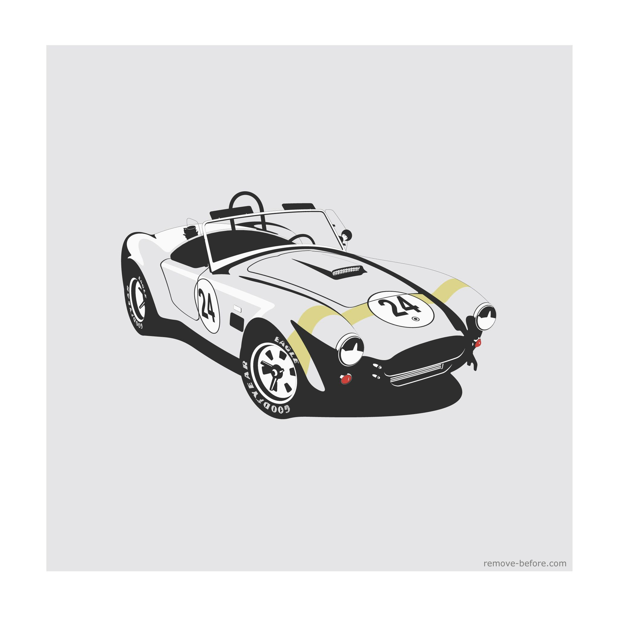 remove before limited edition classic car print shelby cobra car artwork