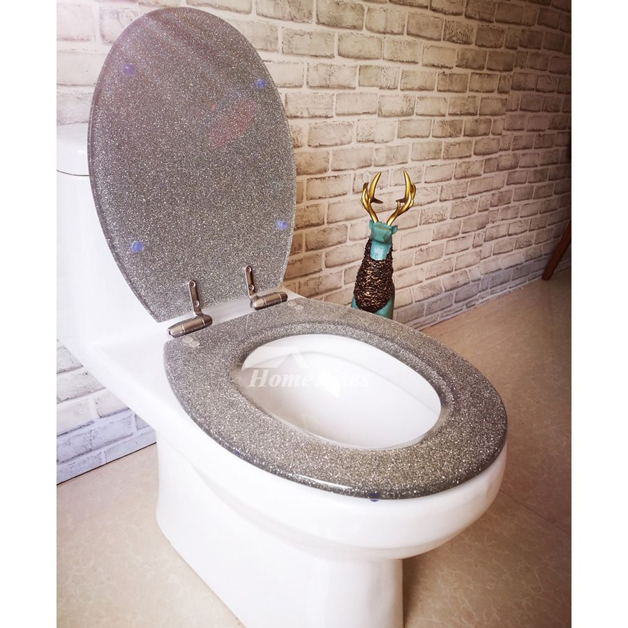 Luxury Funky Glitter Resin Soft Close Toilet Seat Silver Elongated