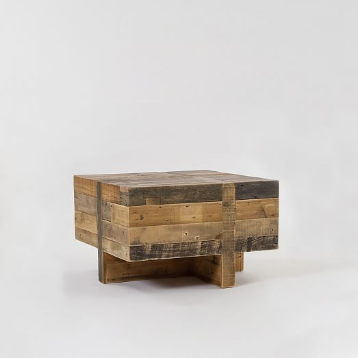 Emmerson 174 Reclaimed Wood Block Side Table Side Table Modern Side Table Wood Blocks