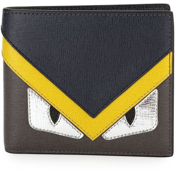 82feb2c50d Fendi Silver Monster Eyes Leather Bi-Fold Wallet ($480) ❤ liked on Polyvore  featuring men's fashion, men's bags, men's wallets, fendi mens wallet, ...