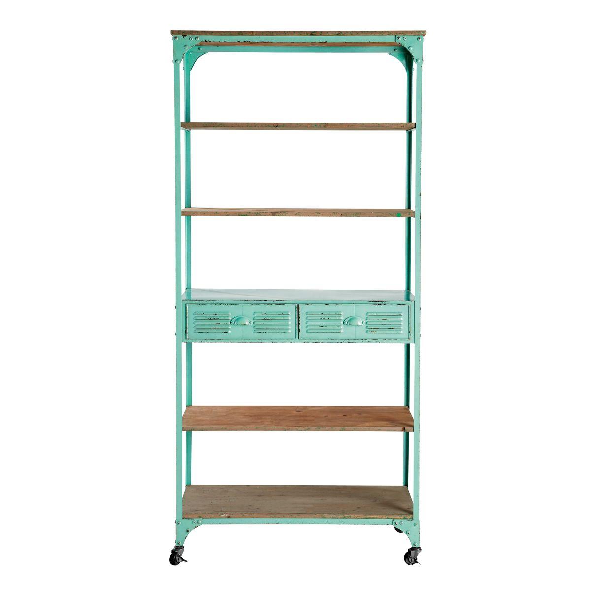 Green Metal And Fir 2 Drawer Display Shelf On Castors Etagere